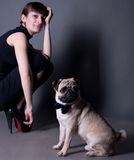 Pug dog gentleman. Studio portrait of an elegant pug dog gentleman wearing blue bow and sitting on the floor, with his owner beautiful young woman model sitting Stock Photos