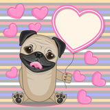 Pug Dog with heart frame Stock Images