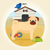 Pug dog icon. Cartoon illustration in flat style Stock Image
