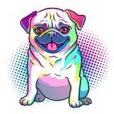 Pug dog pop art style illustration in bright neon rainbow colors