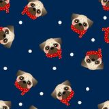 Pug Dog with Red Scarf on Navy Blue Background. Vector Illustration royalty free illustration