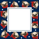 Pug Dog with Red Scarf on Navy Blue Banner Card. Vector Illustration.  vector illustration