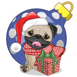 Pug Dog in a Santa hat Stock Images