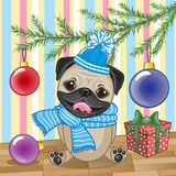 Pug Dog under the tree Royalty Free Stock Photos