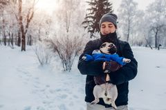 Pug dog walking on snow with his master. Puppy wearing winter coat. Man holding his pet in winter forest. Clothes for animals stock photo