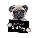 Pug gevangene Pug hond Slechte jongen Hondmisdadiger Gearresteerde hond Vector vector illustratie