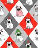 Pug in het jaar van het varken stock illustratie
