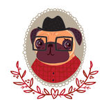 Pug-hipster in a red plaid shirt. And glasses stock illustration