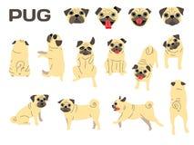 Pug, hond in actie, gelukkige hond royalty-vrije illustratie