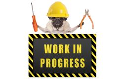 Pug hond die de gele helm van de aannemersveiligheid dragen, houdend buigtang en schroevedraaier, met waarschuwingsbord die lopen stock afbeelding