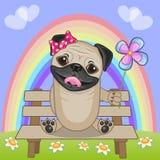 Pug Hond met bloem vector illustratie