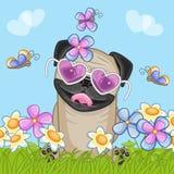 Pug Hond met bloemen stock illustratie