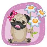 Pug Hond met bloemen vector illustratie