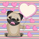 Pug Hond met hartkader Stock Afbeeldingen