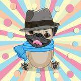 Pug Hond met hoed vector illustratie