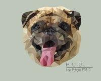 Pug Low Polygon. Dog Low Polygon Vector Illustration Stock Photography