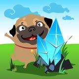 Pug mit einem Kristall in der Naturlandschaft stock abbildung