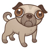 Pug Puppy Cartoon. Vector cartoon illustration of a cute Pug puppy dog with really big brown eyes vector illustration
