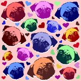 Pug Puppy Dog Love Hearts Pattern Stock Photography