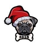 Pug in Sankt-Hut, Hund Neues Jahr 2018 Vektor Lizenzfreie Stockfotografie