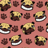 Pug seamless pattern. Funny cartoon pug and paw seamless pattern. Can be used for fashion print design, textile design, fashion graphic, t-shirt, kids wear Royalty Free Stock Images