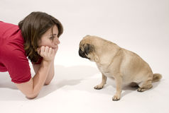 Pug and Young Woman Royalty Free Stock Photo
