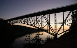 Puget Sound Deception Pass Fidalgo Whidbey Islands. The bridge over Deception Pass headed to Whidbey Island royalty free stock images