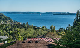 Puget Sound Landscape. A view of the Puget Sound from Burien, Washington stock photography