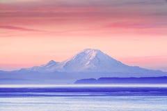 The Puget Sound and Mount Rainier at sunrise, Washington, USA Stock Photos