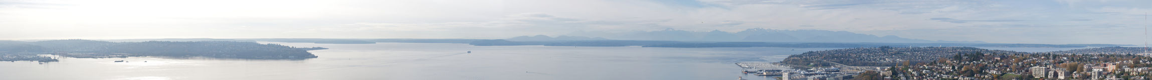 Puget Sound Panorama. A panoramic view of Puget Sound from the top of the Seattle Space Needle in Washington Stock Image