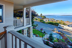 Puget sound view from house walkout deck, Tacoma, WA Royalty Free Stock Photos