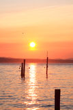 Puget sunset. The sun sets over the puget sound. looking west from edmonds, washington Stock Photos