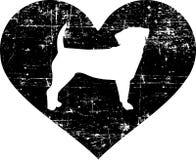 Puggle in heart black. Puggle silhouette in black heart stock illustration