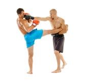 Pugilato d'allenamento di Kickboxers sul bianco Fotografia Stock Libera da Diritti