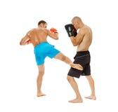 Pugilato d'allenamento di Kickboxers sul bianco Immagine Stock Libera da Diritti