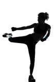 Pugilato del pugile di posizione di kickboxing della donna Fotografia Stock Libera da Diritti