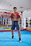 Pugilato di ombra del combattente di Kickbox nell'anello Immagini Stock