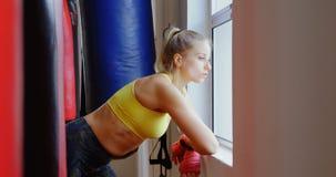 Pugile femminile che guarda attraverso la finestra nello studio 4k di forma fisica stock footage