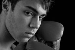 The Pugilist. A young boxer with his guard up Royalty Free Stock Image