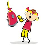 Pugilist, boy and boxing bag. Funny vector illustration.Boy with headband and earring.Colored image. The boy is training the boxing Stock Photos