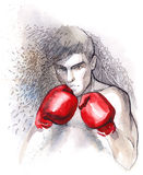 Pugilist. Painting of  Boxer protective position Royalty Free Stock Photos