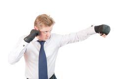 Pugilista agressivo do homem de negócios Imagens de Stock
