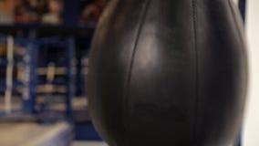 Pugilista masculino contratado no gym, batendo a pera filme