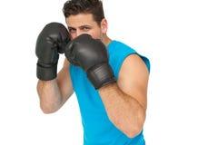 Pugilista masculino determinado centrado sobre seu treinamento Fotografia de Stock Royalty Free