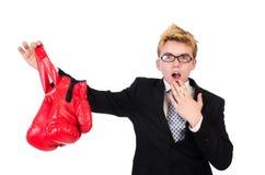 Pugilista novo do homem de negócios Imagens de Stock