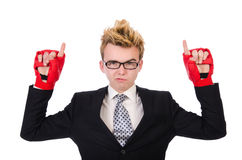 Pugilista novo do homem de negócios Imagens de Stock Royalty Free