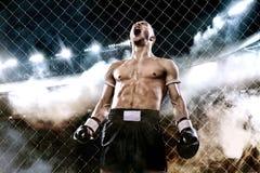 Pugilista tailandês de Muay do desportista que comemora a vitória sem falhas na gaiola do encaixotamento Fundo com luzes e fumo C Fotos de Stock Royalty Free