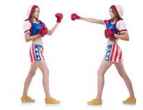 Pugilistas fêmeas no uniforme com símbolos dos E.U. isolado Imagens de Stock Royalty Free