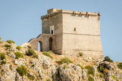 Puglia, Italy, old tower at Porto Selvaggio Royalty Free Stock Images
