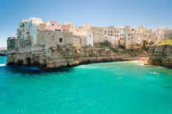 Puglia, Polignano a Mare. City and beach stock image
